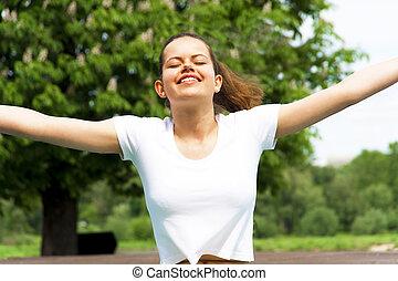 sunbeams., donna, bellezza, enjoyment., libertà, sopra, outdoor., cielo, libero, sun., nature., ragazza, godere, concept., felice