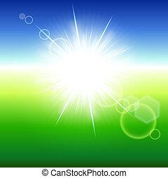 sunbeams., elvont, háttér, nyár, vektor, illustration.