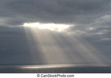 Sunbeams - Late afternoon sun shining over the Atlantic...