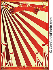 Sunbeams red circus - A circus poster with red sunbeams for...
