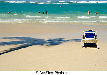 sunbed, 上, 海灘