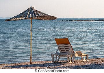 sunbed, bambu, gjord, parasoll, ??of
