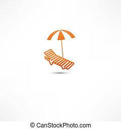 sunbed, parapluie, icône