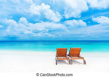 sunbed, plaża, dwa, opróżniać