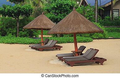 sunbed, sandstrand