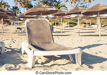 Sunbeds on the sea beach