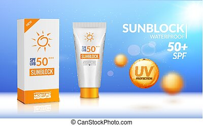 Sunblock ad template. Sun protection cosmetic. Moisturizer...
