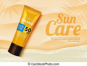 sunblock, annunci, sole, cosmetico, fondo., protezione, prodotti, liquid., disegno, idratante, sagoma, spiaggia, o, crema