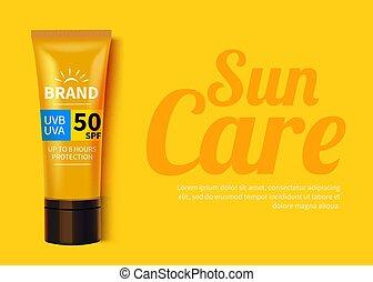 sunblock, annunci, sole, cosmetico, protezione, prodotti, liquid., disegno, idratante, sagoma, o, crema