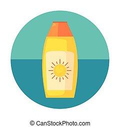 sunblock bottle on white background