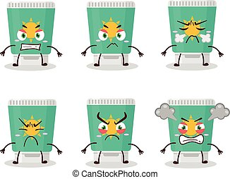 Sunblock cartoon character with various angry expressions