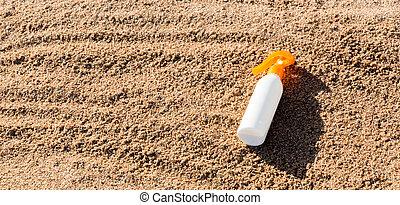 sunblock, conceito, garrafa, férias verão, space., loção,...