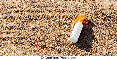 sunblock, concept, bouteille, vacances été, space., lotion, ...