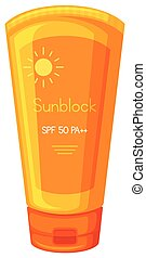 Sunblock Cream on White Background