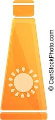 Sunblock cream tube icon, cartoon style - Sunblock cream...