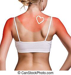 sunblock, femme, shoulder.
