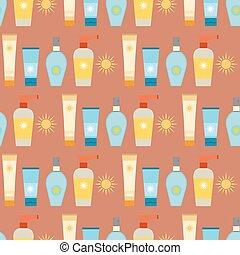 sunblock, recipiente, illustration., verão, padrão, tubo,...
