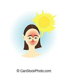 Sunburn - Girl with skin sunburn