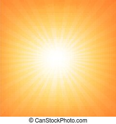 sunburst, 海报, 带, 电波