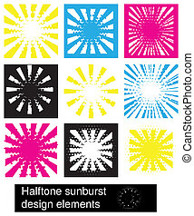 sunburst, 要素, デザイン, halftone