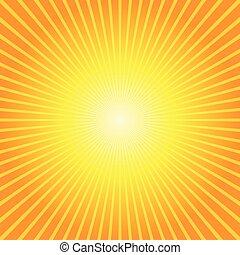 sunburst, amarela, fundo alaranjado