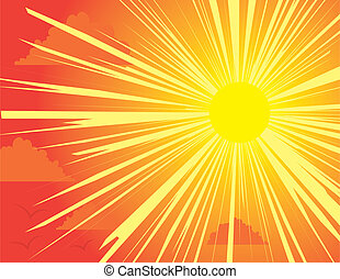Yellow and red sunburst background with clouds and birds