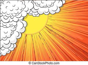 sunburst, astratto, nubi, fondale