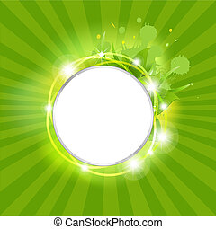Sunburst Background With Leafs And Stars