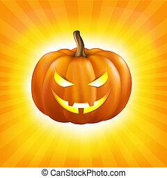 Sunburst Background With Pumpkin