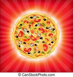 sunburst, bakgrund, pizza
