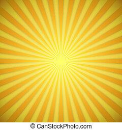 sunburst, brillante, amarillo, y, naranja, vector, plano de...