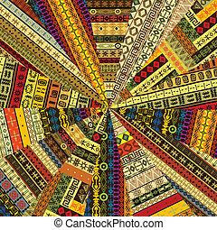 sunburst, feito, de, patchwork, tecido, witf, étnico, arabescos