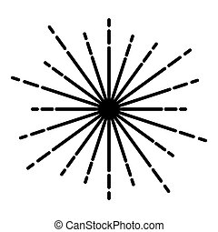 Sunburst Fireworks rays Radial ray Beam lines Sparkle Glaze Flare Starburst concentric radiance lines icon black color vector illustration flat style image