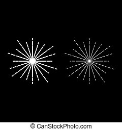 Sunburst Fireworks rays Radial ray Beam lines Sparkle Glaze Flare Starburst concentric radiance lines icon outline set white color vector illustration flat style image