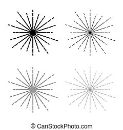 Sunburst Fireworks rays Radial ray Beam lines Sparkle Glaze Flare Starburst concentric radiance lines icon outline set black grey color vector illustration flat style image