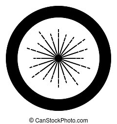 Sunburst Fireworks rays Radial ray Beam lines Sparkle Glaze Flare Starburst concentric radiance lines icon in circle round black color vector illustration flat style image