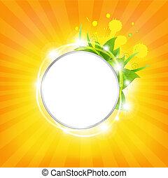 sunburst, fondo, con, stelle