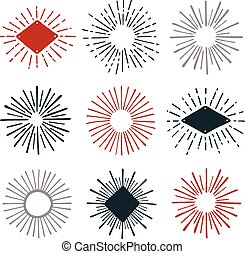 Sunburst graphics - Set of hand-drawn sunburst design...
