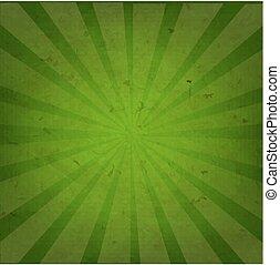 sunburst, grunge, zielony, struktura, tło