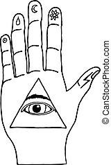 Sunburst, hand, ornaments. Illuminati symbols