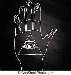 Sunburst, hand, ornaments. Illuminati symbols on chalkboard