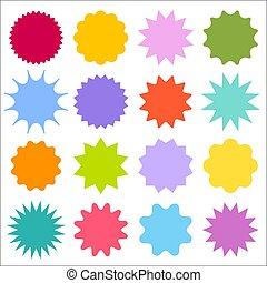 sunburst, jogo, badges., starburst, vetorial