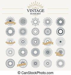 Sunburst - Light ray. Vintage sunburst collection with...
