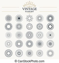 Sunburst - Light ray. Vintage sunburst collection with...