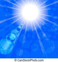 sunburst, mit, leuchtsignal, und, lens.