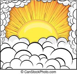 sunburst, nubi, fondo