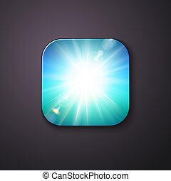 Sunburst or white shining light on a blue button.
