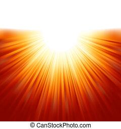 sunburst, paprsek, o, sluneční světlo, tenplate., eps, 8
