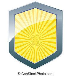 sunburst, prata, escudo