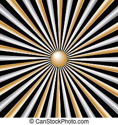 sunburst, rayos, oro, y, plata, en, fondo negro